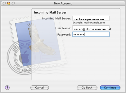 Zimbra AppleMail walk through