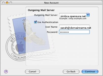 Zimbra AppleMail walk through
